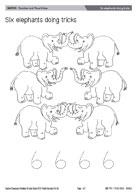 Six elephants doing tricks